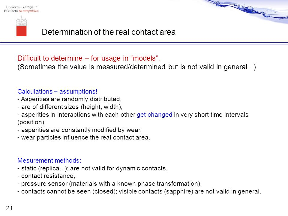 Determination of the real contact area