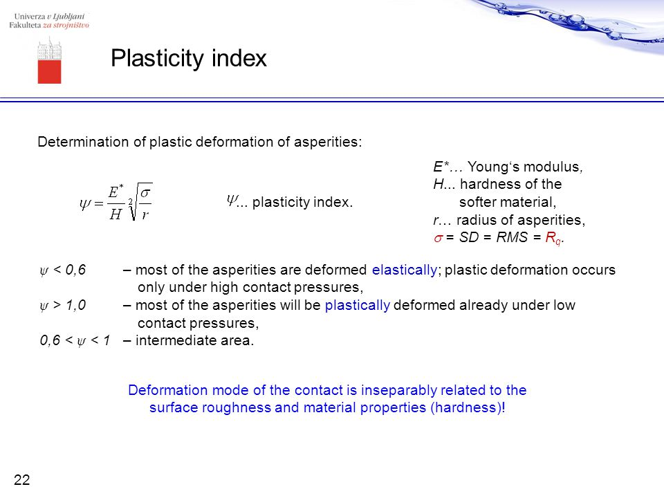 Plasticity index Determination of plastic deformation of asperities: