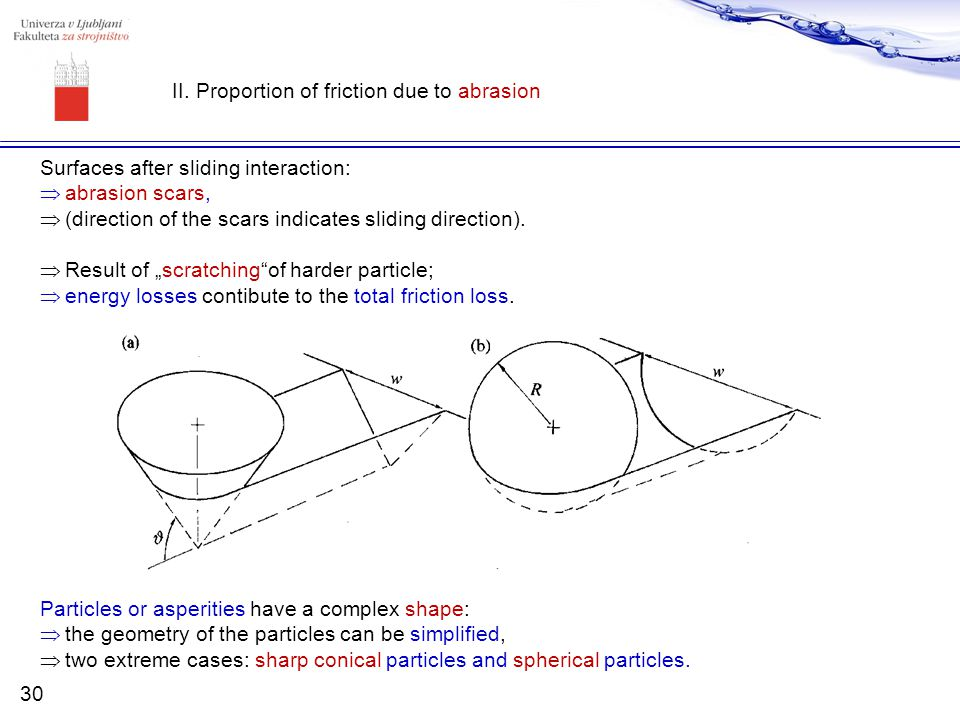 II. Proportion of friction due to abrasion