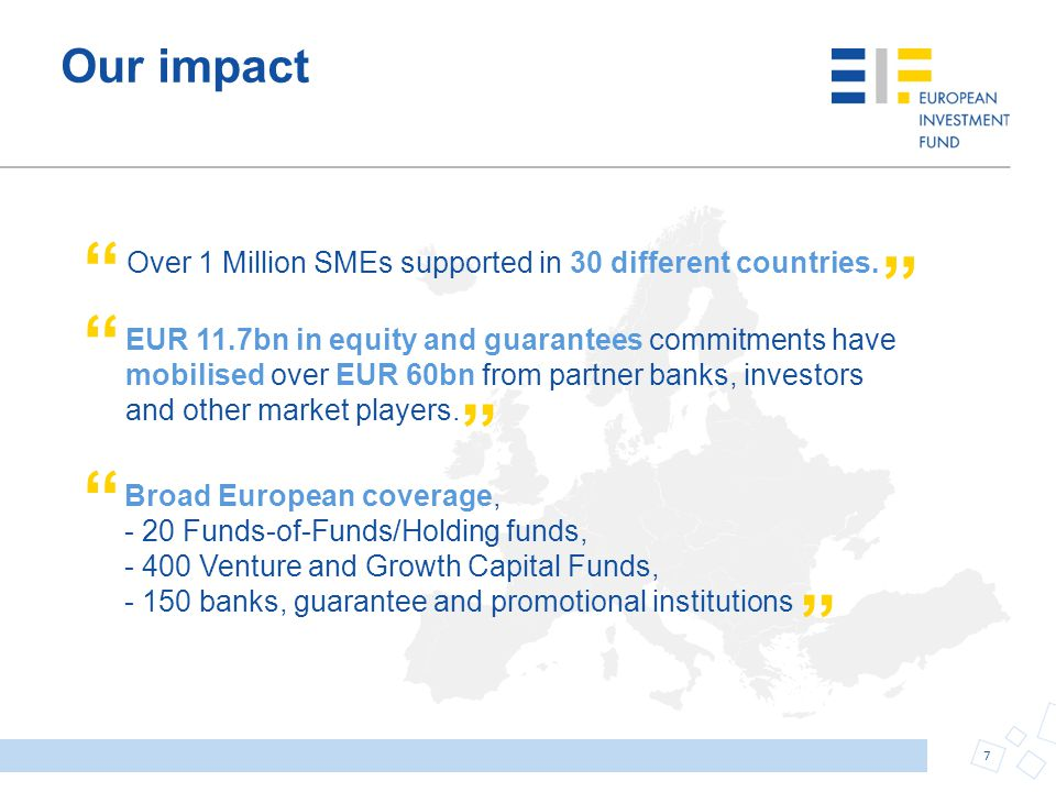 Our impact Over 1 Million SMEs supported in 30 different countries.