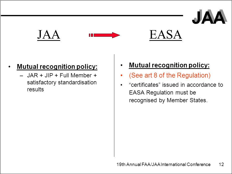 JAA EASA Organisation: Organisation:
