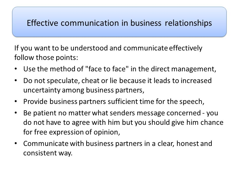 Effective communication in business relationships