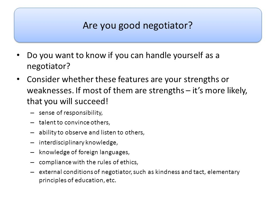 Are you good negotiator
