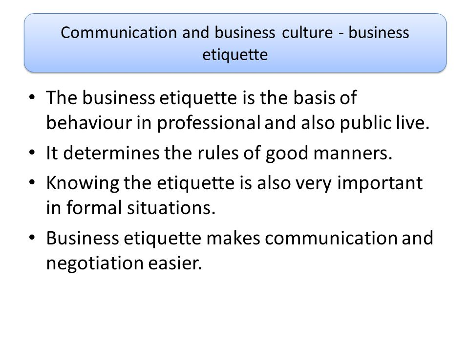Communication and business culture - business etiquette