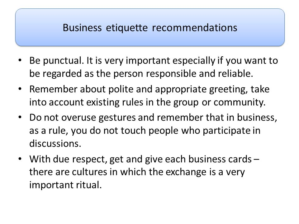 Business etiquette recommendations