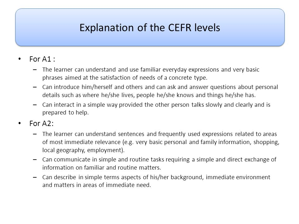 Explanation of the CEFR levels
