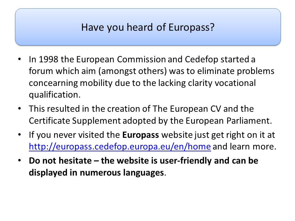 Have you heard of Europass