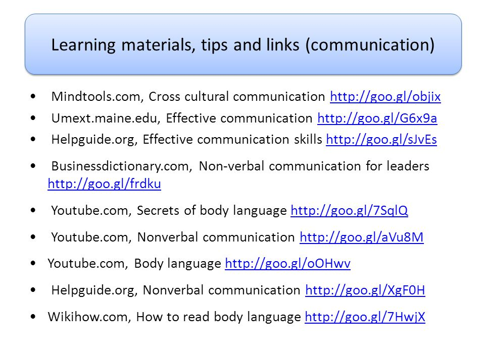 Learning materials, tips and links (communication)