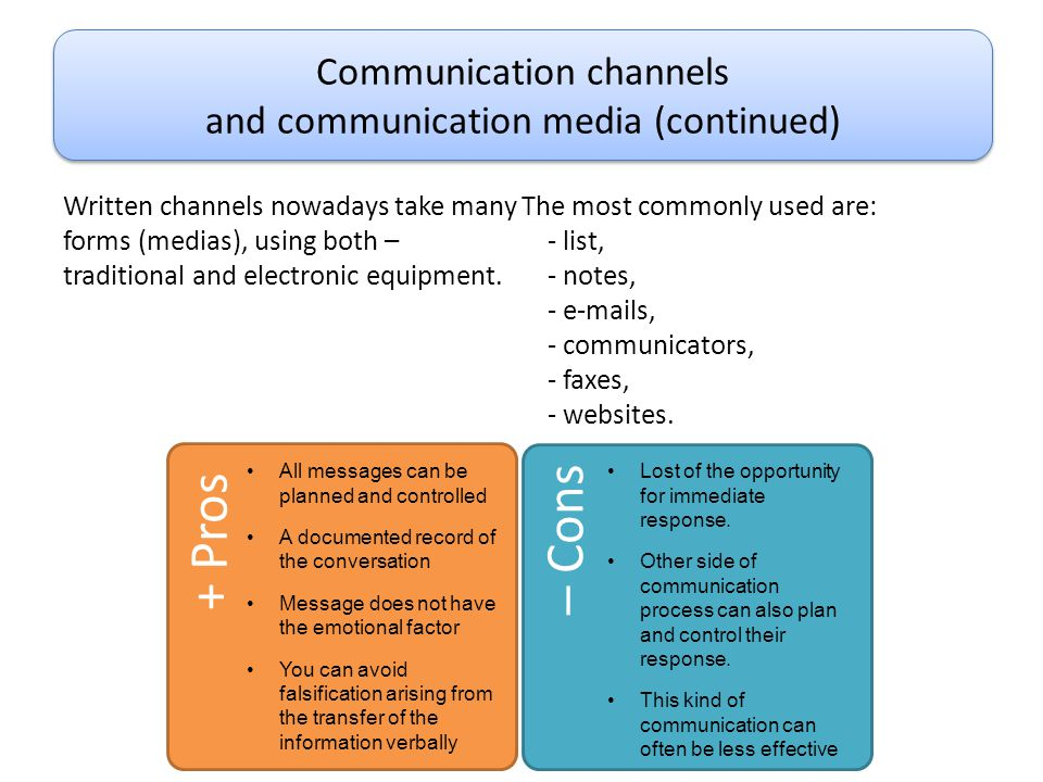 Communication channels and communication media (continued)