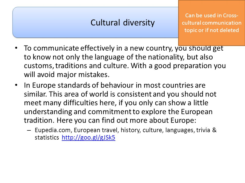 Can be used in Cross-cultural communication topic or if not deleted