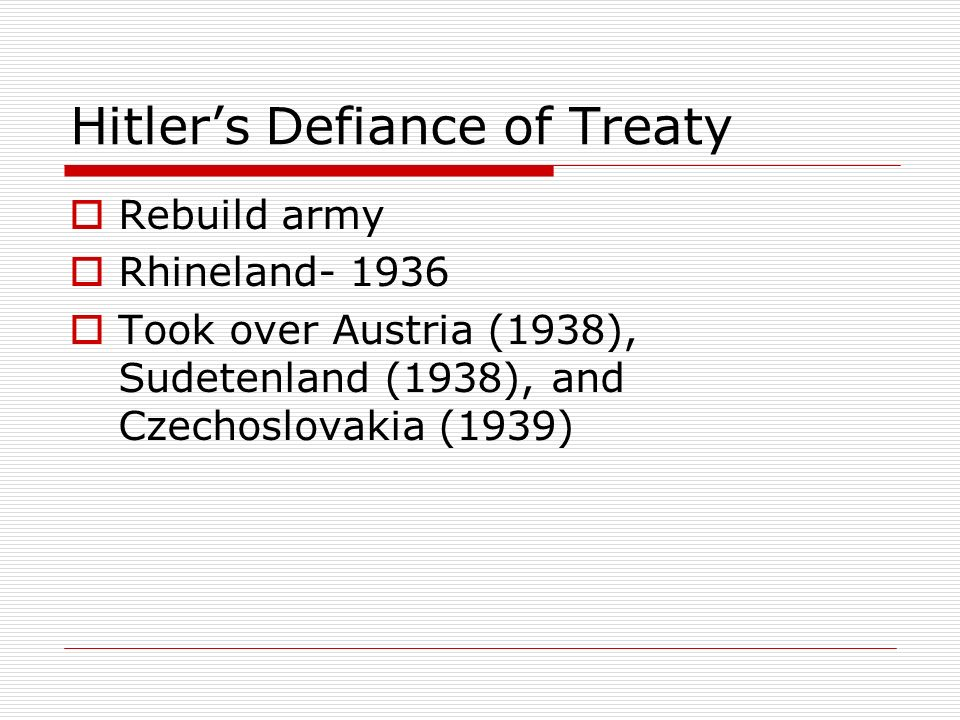 Hitler's Defiance of Treaty