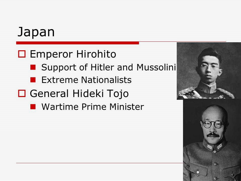 Japan Emperor Hirohito General Hideki Tojo