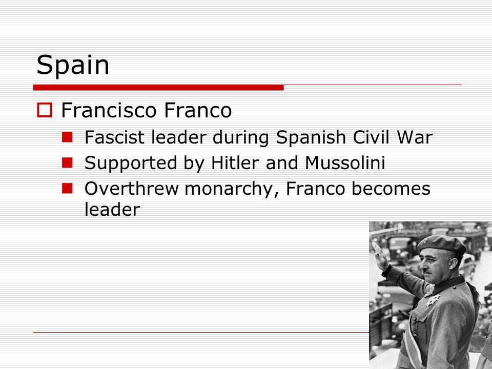 Spain Francisco Franco Fascist leader during Spanish Civil War