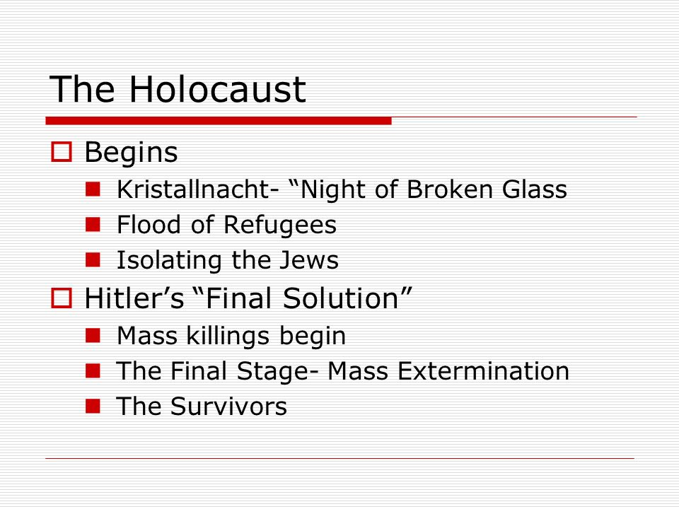 The Holocaust Begins Hitler's Final Solution