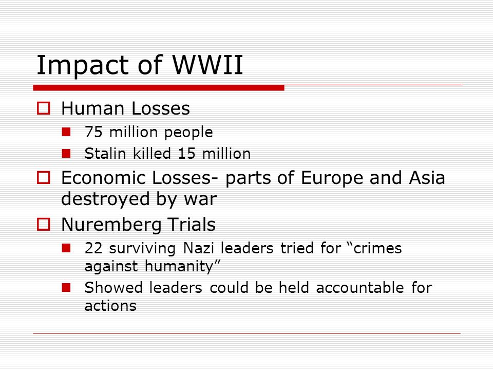 Impact of WWII Human Losses