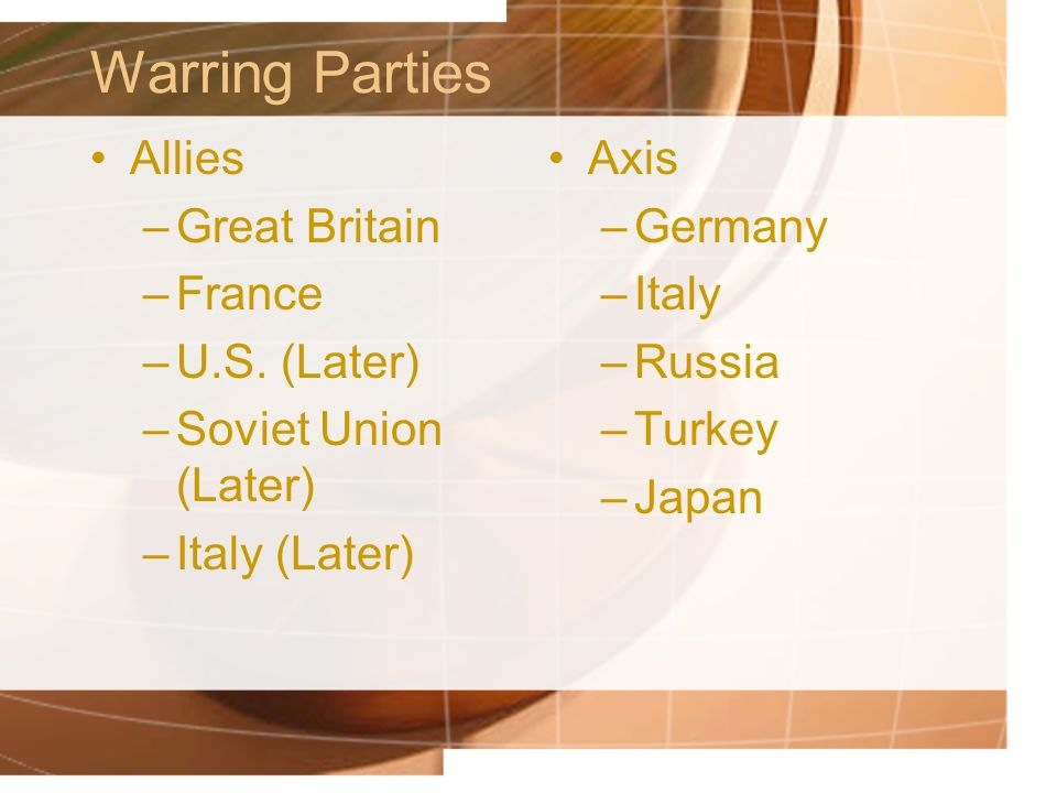 Warring Parties Allies Great Britain France U.S. (Later)