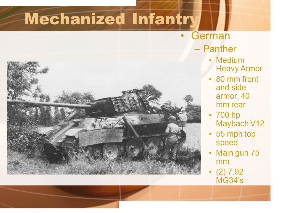 Mechanized Infantry German Panther Medium Heavy Armor