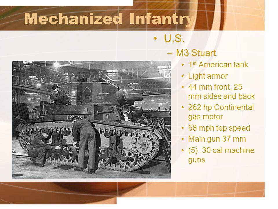 Mechanized Infantry U.S. M3 Stuart 1st American tank Light armor