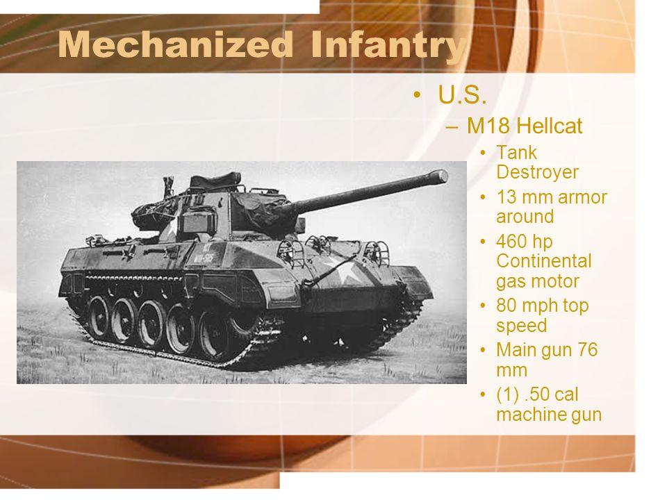 Mechanized Infantry U.S. M18 Hellcat Tank Destroyer 13 mm armor around