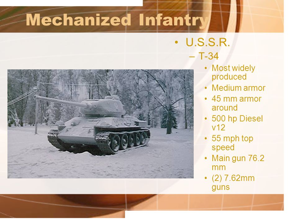 Mechanized Infantry U.S.S.R. T-34 Most widely produced Medium armor