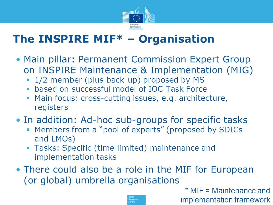 The INSPIRE MIF* – Organisation