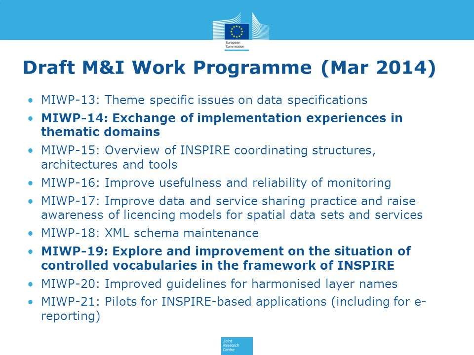 Draft M&I Work Programme (Mar 2014)