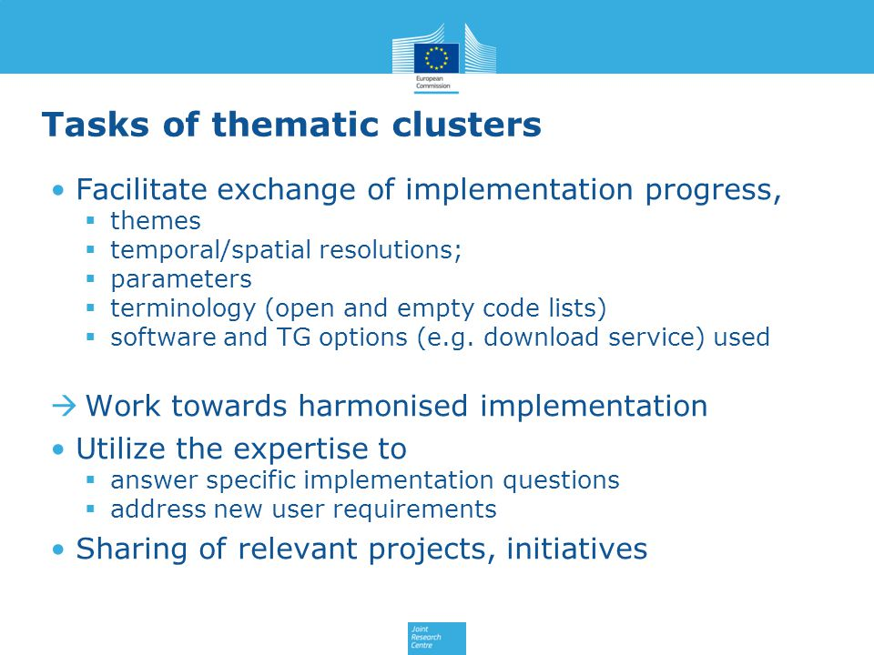 Tasks of thematic clusters