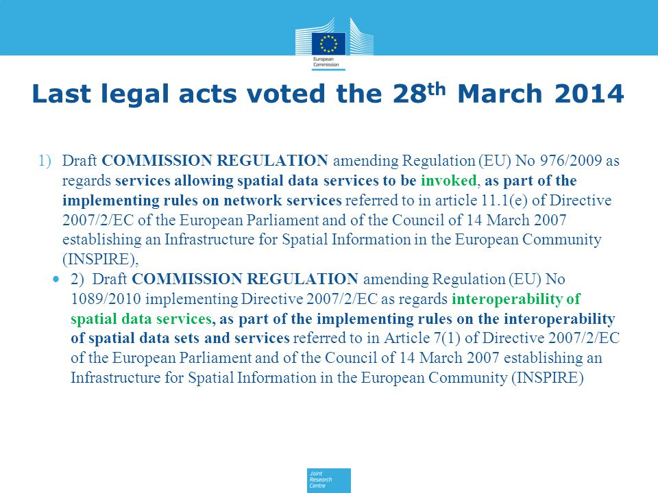 Last legal acts voted the 28th March 2014