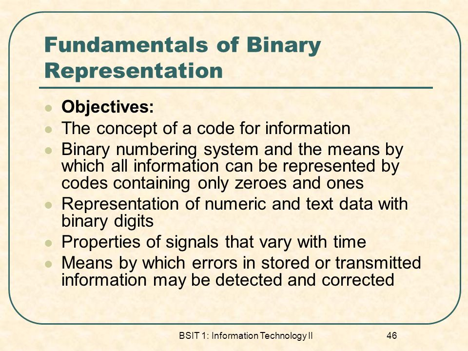 Fundamentals of Binary Representation