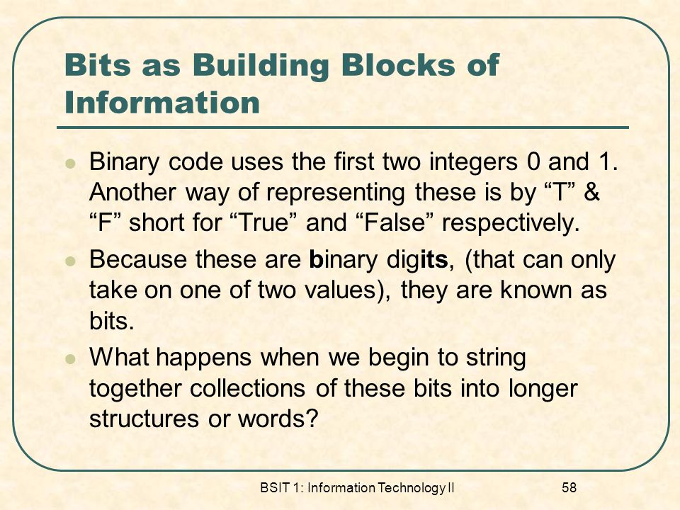 Bits as Building Blocks of Information
