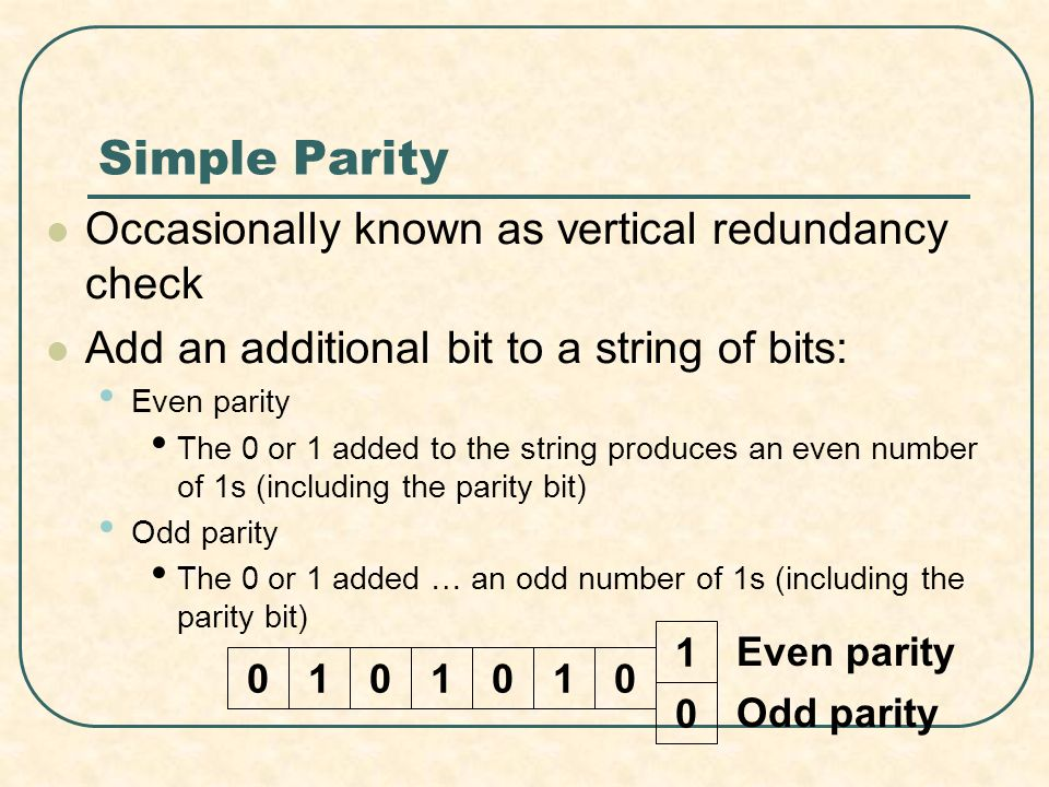 Simple Parity Occasionally known as vertical redundancy check