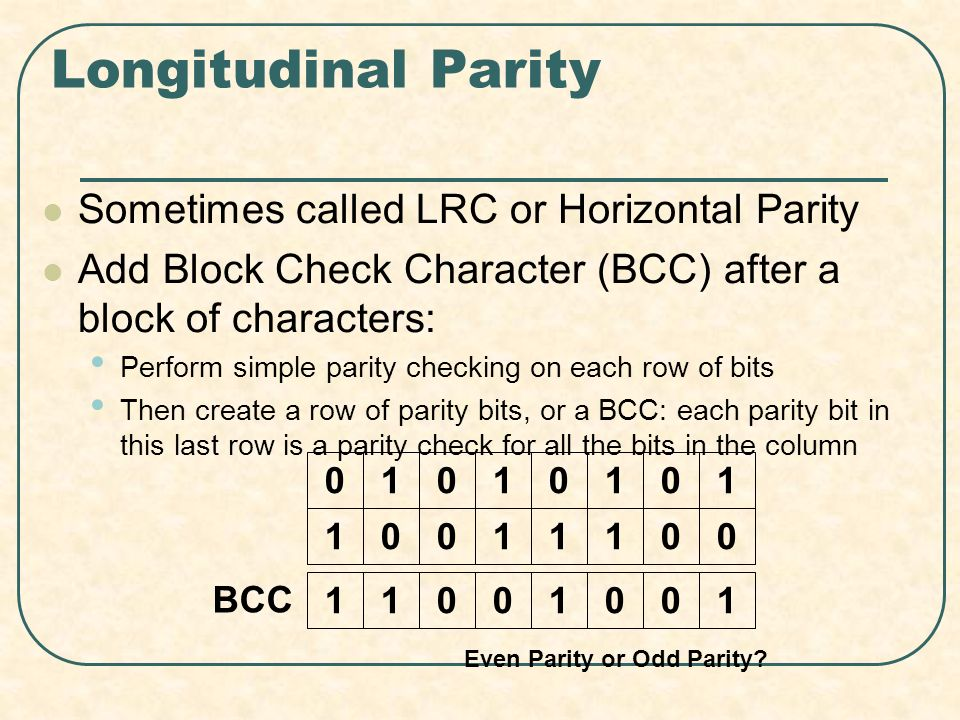 Longitudinal Parity Sometimes called LRC or Horizontal Parity