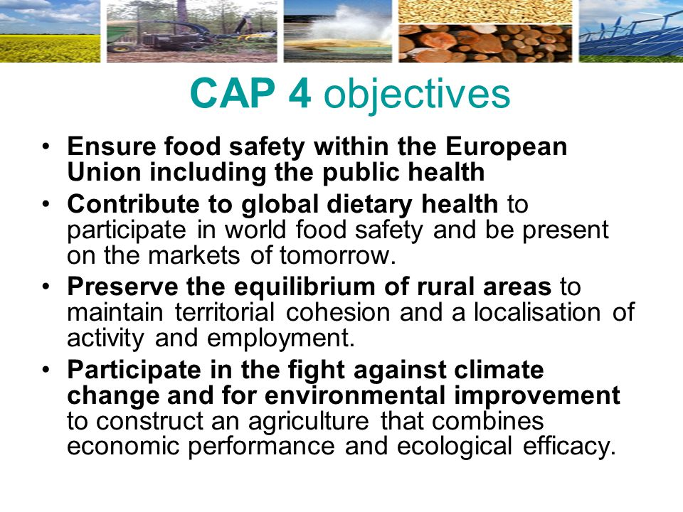 CAP 4 objectives Ensure food safety within the European Union including the public health.
