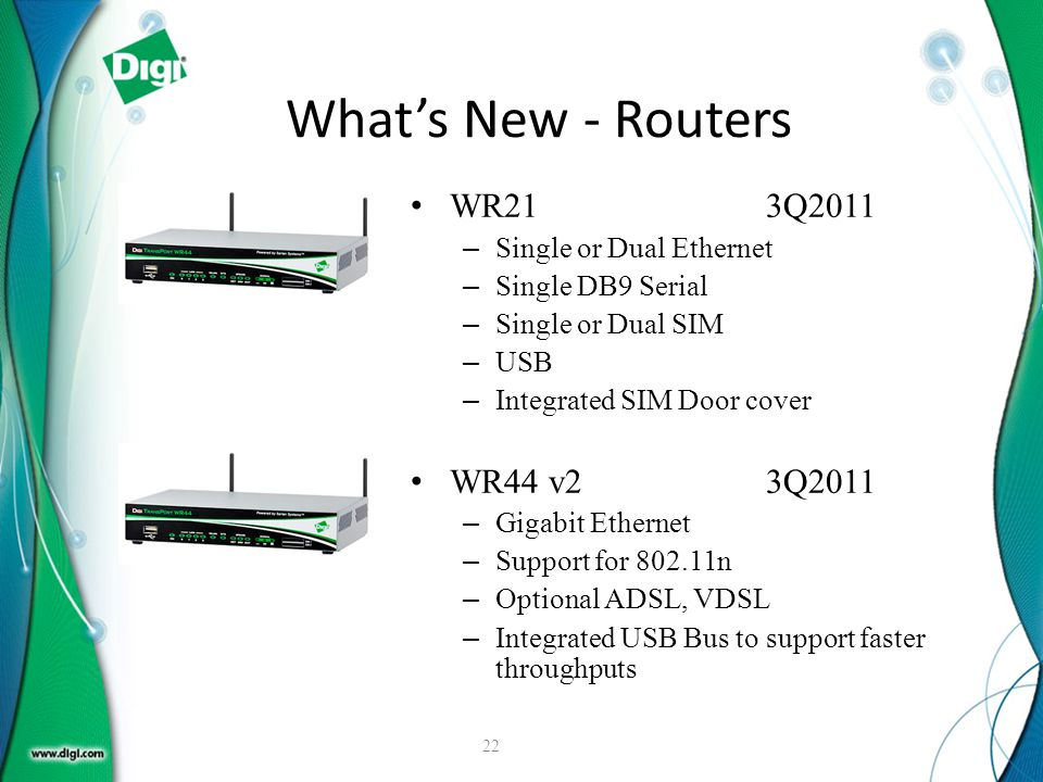 What's New - Routers WR21 3Q2011 WR44 v2 3Q2011