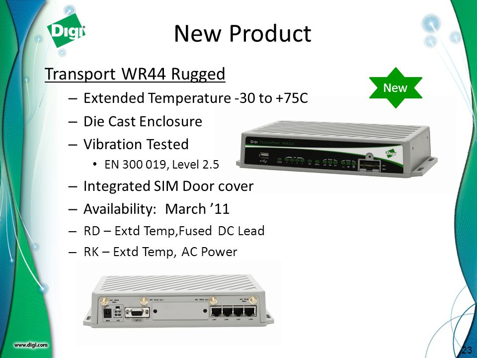 New Product Transport WR44 Rugged Extended Temperature -30 to +75C