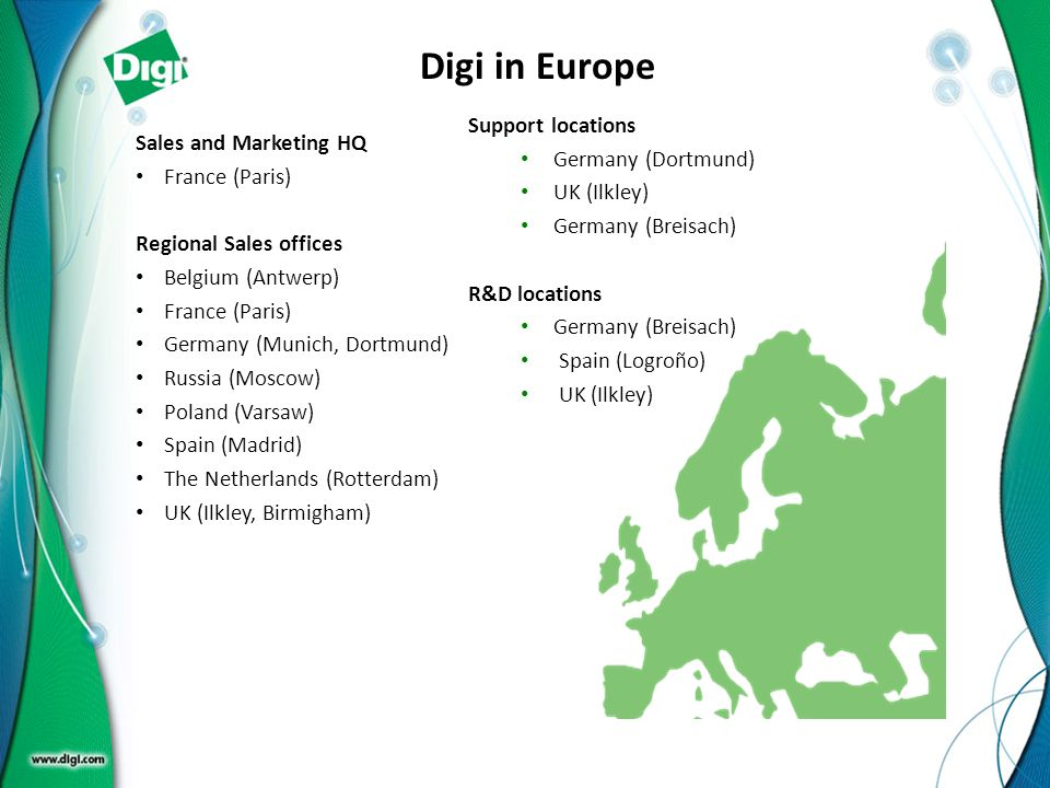 Digi in Europe Support locations Germany (Dortmund)