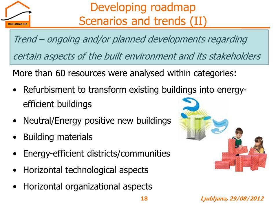 Developing roadmap Scenarios and trends (II)