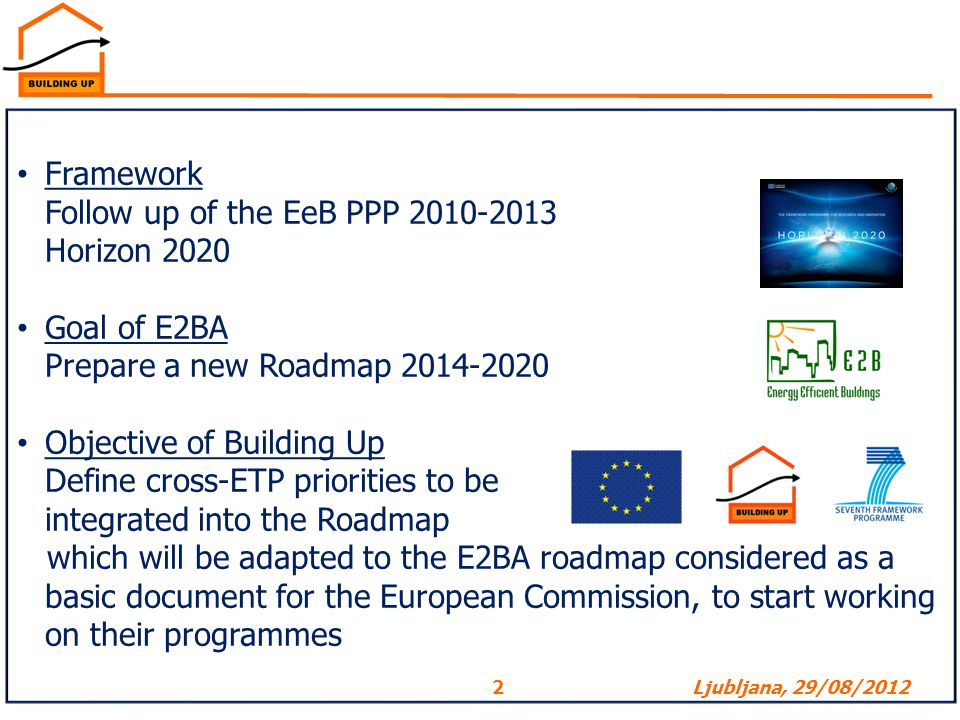 Framework Follow up of the EeB PPP 2010-2013. Horizon 2020. Goal of E2BA. Prepare a new Roadmap 2014-2020.