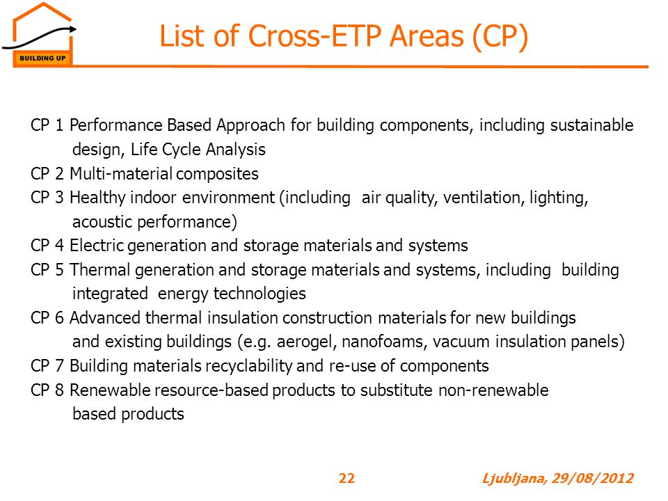 List of Cross-ETP Areas (CP)