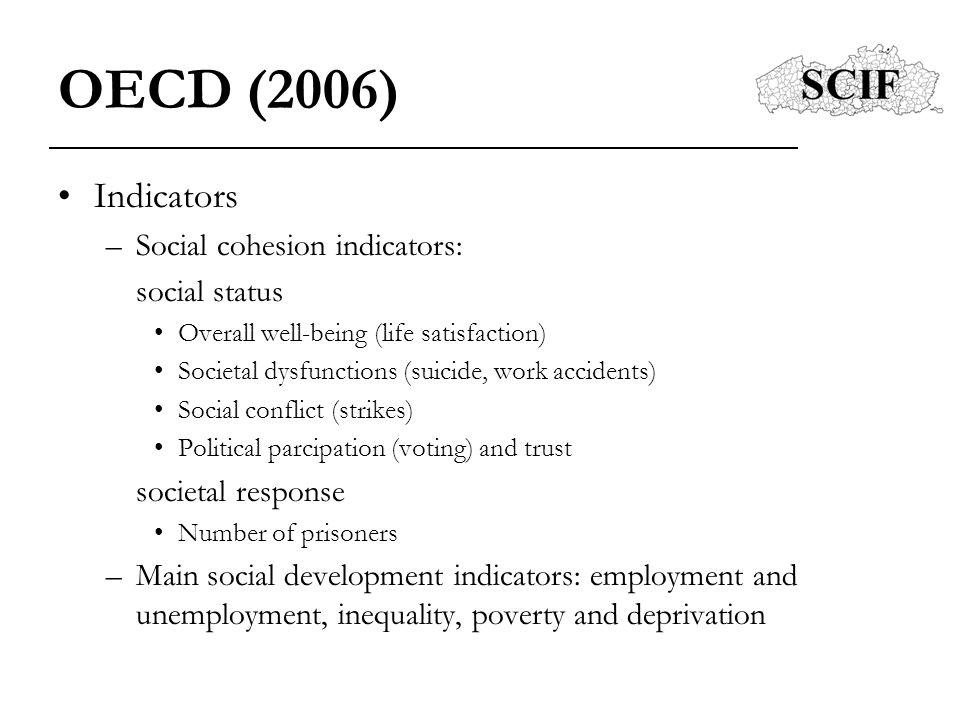 OECD (2006) Indicators Social cohesion indicators: social status