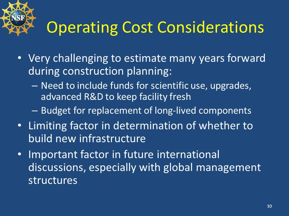 Operating Cost Considerations