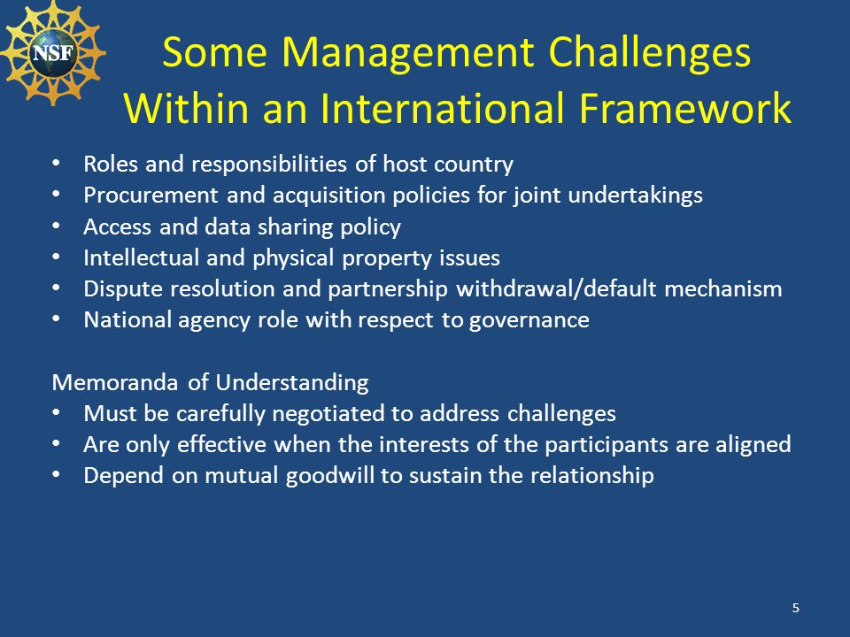Some Management Challenges Within an International Framework