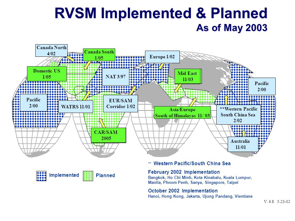 RVSM Implemented & Planned As of May 2003