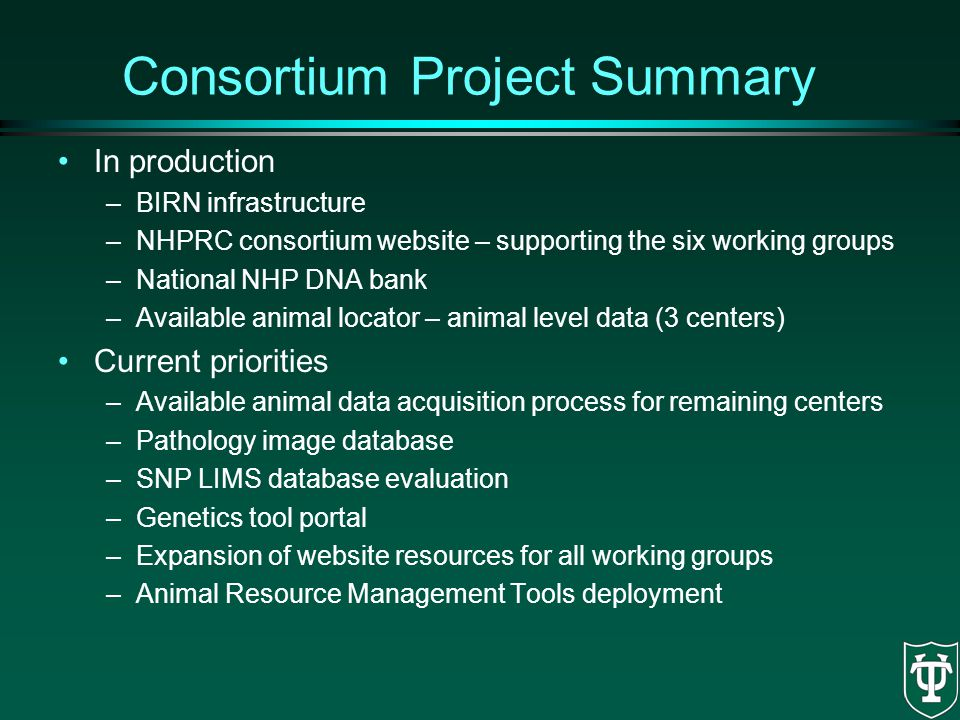 Consortium Project Summary
