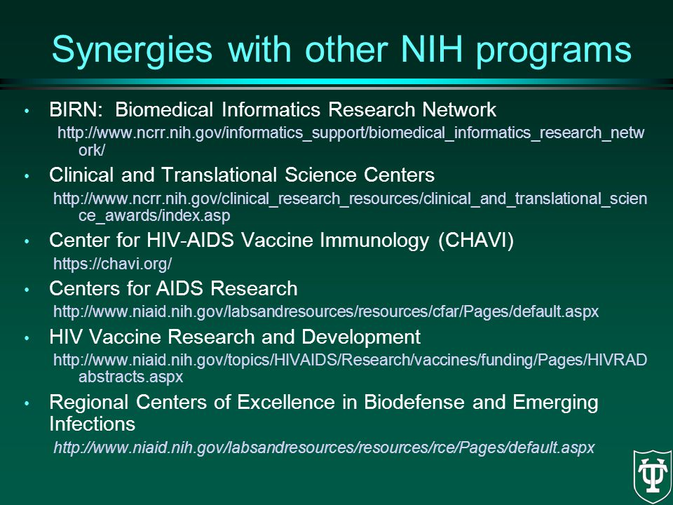 Synergies with other NIH programs