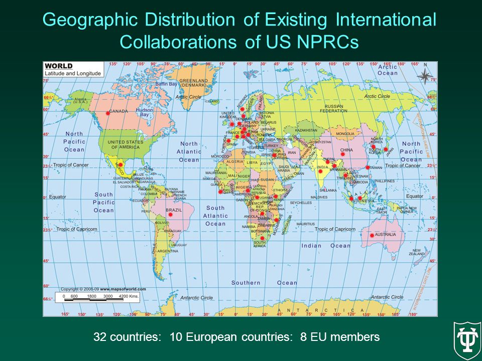 Geographic Distribution of Existing International Collaborations of US NPRCs