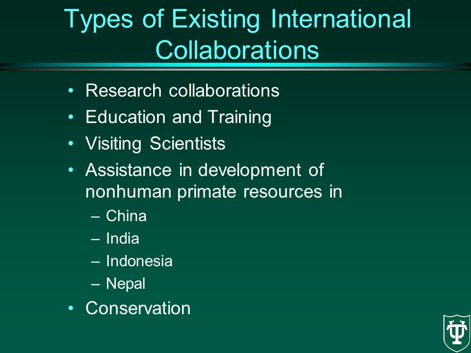 Types of Existing International Collaborations