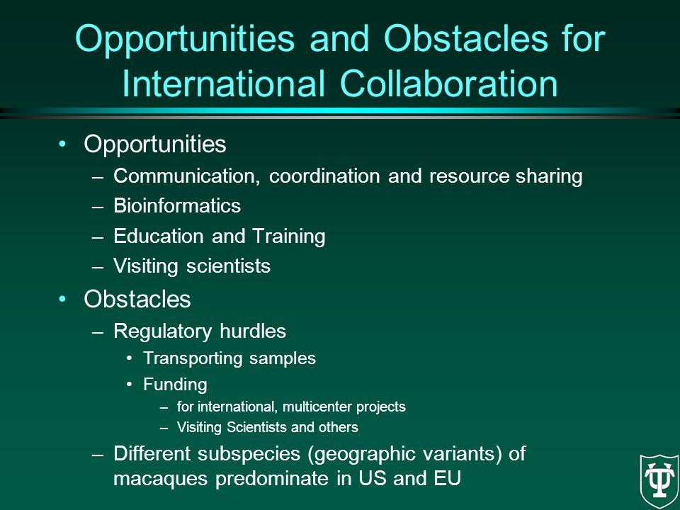 Opportunities and Obstacles for International Collaboration