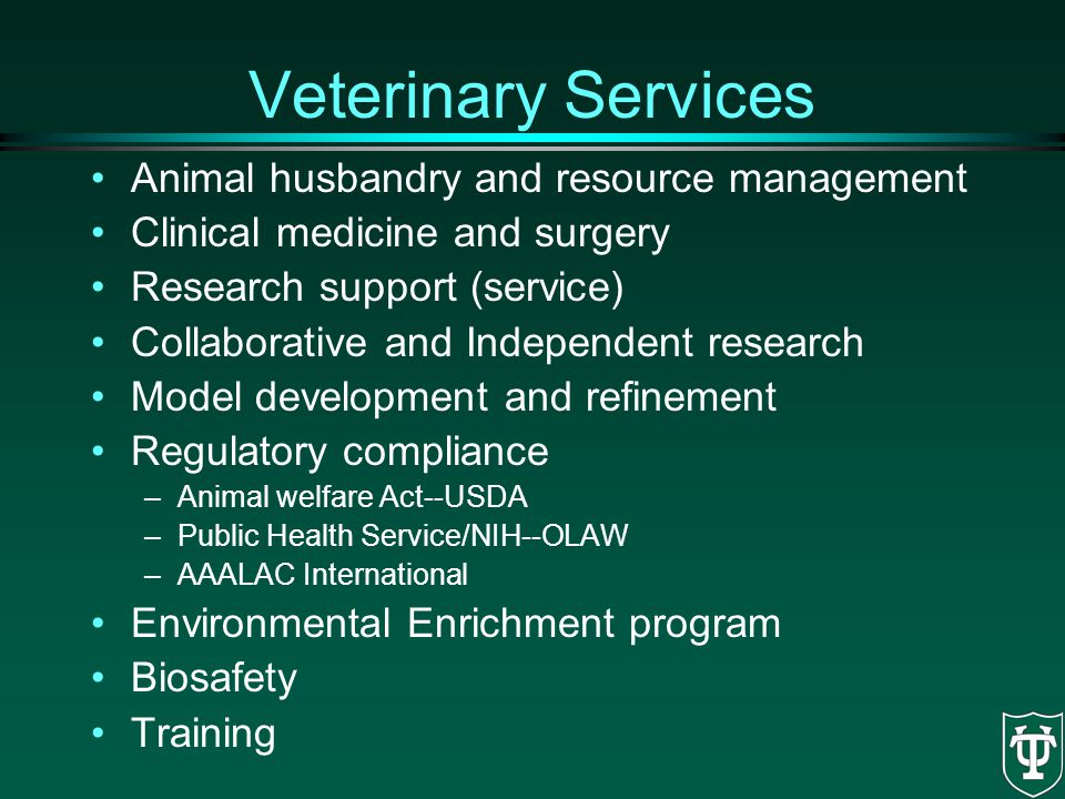 Veterinary Services Animal husbandry and resource management