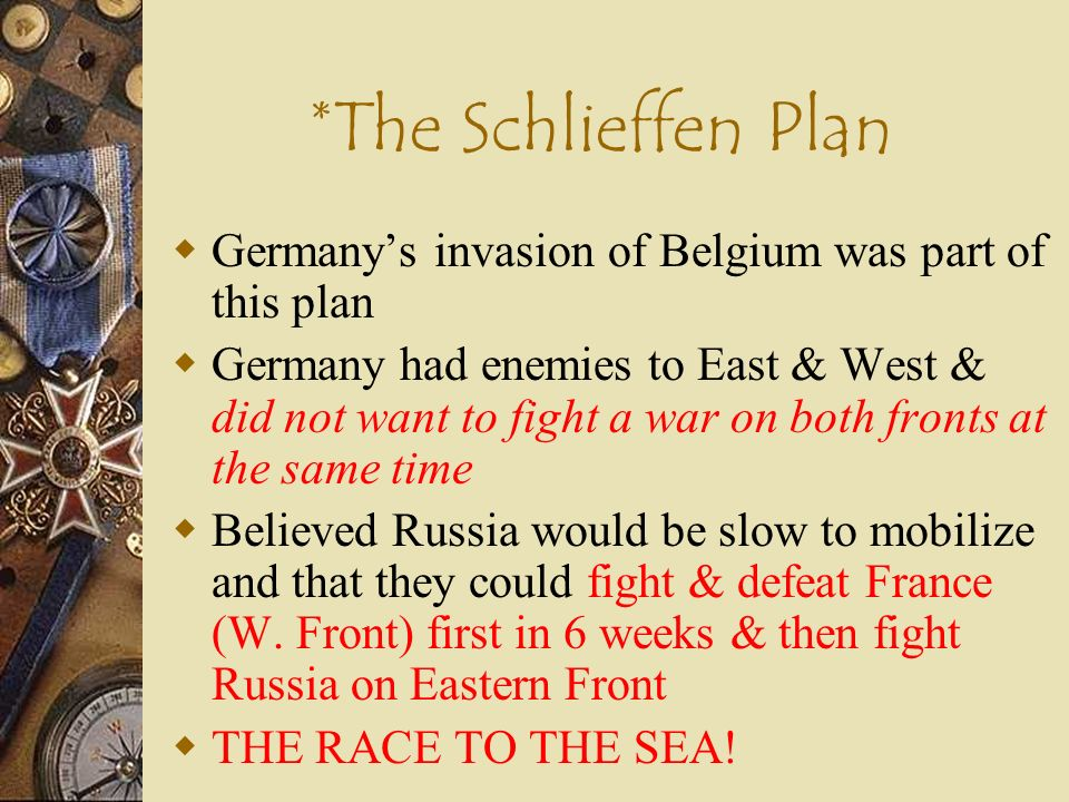 *The Schlieffen Plan Germany's invasion of Belgium was part of this plan.